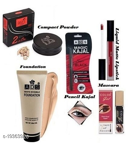 ADS White Perfecting Foundation, Super Black Magic Pencil kajal, Dave Beauty Liquid Matte Lipstick,New Ultra Skin Glow 2 IN 1 Compact Powder With Colour Gril Mascara