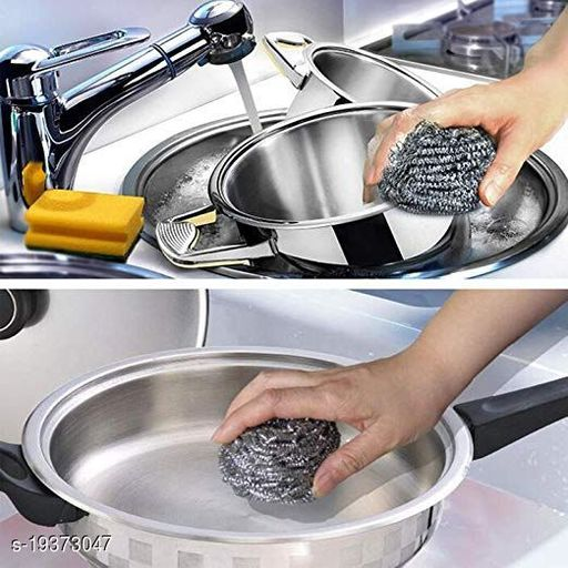 STAINLESS STEEL CLEANING SCRUBS, 12 PCS