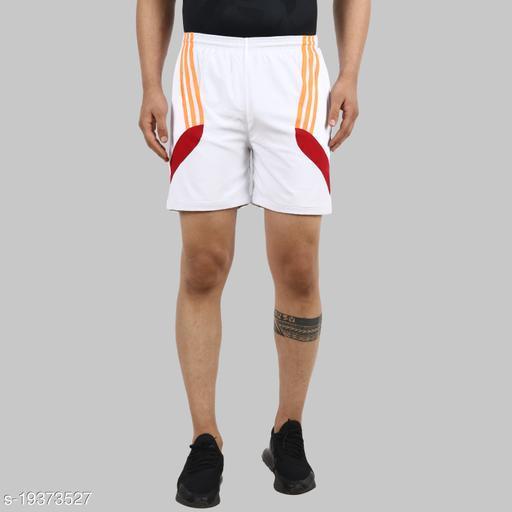 Lecowar Men's Polyester Sports/Casual Shorts (White)