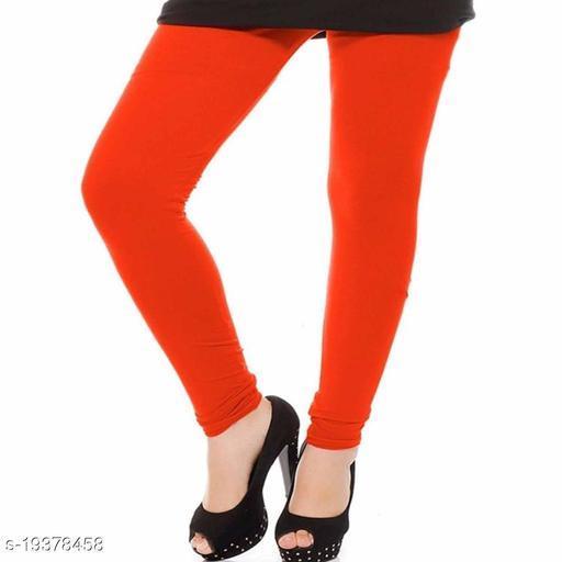 Plain Churidaar Cotton Legging In Orange