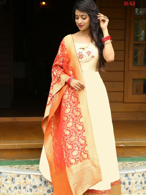 Refreshing Off White Colored Party Wear Hand Work Tafeta Silk Gowns With  Woven Jeqard Dupatta