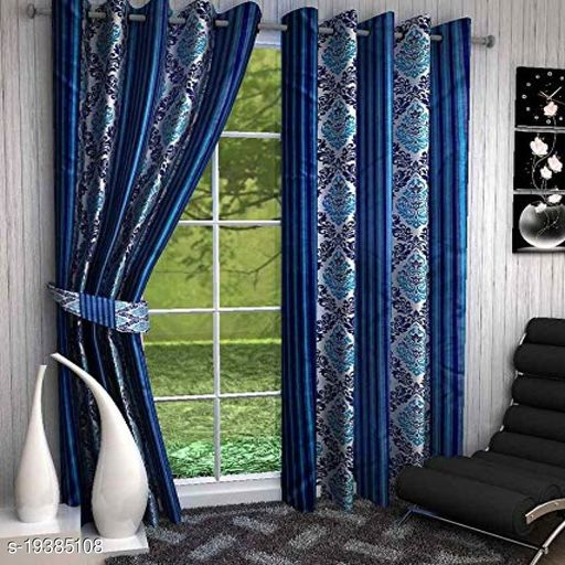 Goodgoods Panipat Printed Polyster Curtain 7 Feet ( Set of 2) for Home Decoration  Offices   Farm House   Stylish Curtain