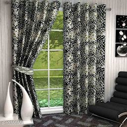 Goodgoods Panipat Printed Polyster Curtain 9 Feet ( Set of 2) for Home Decoration  Offices   Farm House   Stylish Curtain