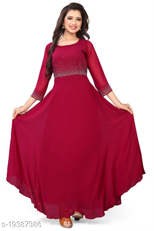 EXCLUSIVE MAROON COLORED CASUAL WEAR GEORGETTE GOWN