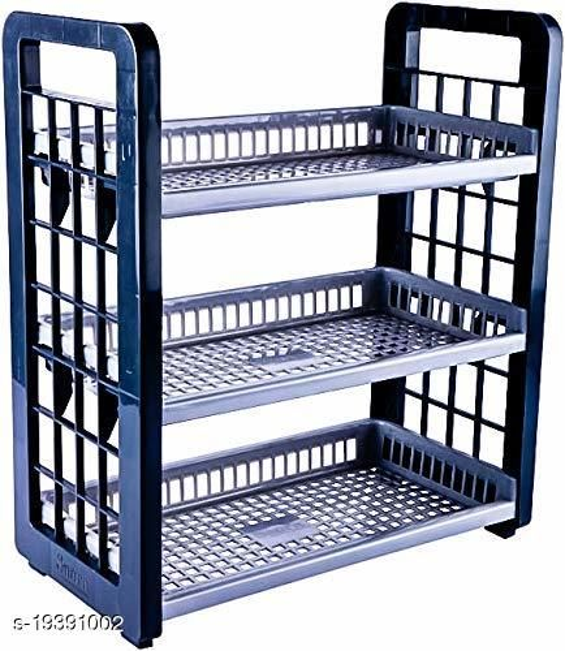 Saura- 3 Shelf Multipurpose Storage Rack-Grey- Color - 1 Piece