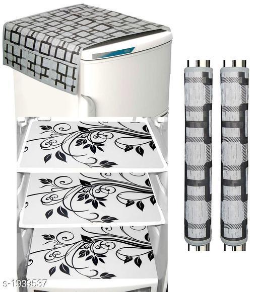 LooMantha Combo Pack of 1 Pc Fridge Top Cover, 2 Pc Handle Cover, 3 Pc Fridge Mat