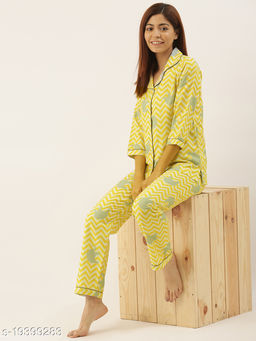 Banno's Swagger Women Yellow Printed Night Suit