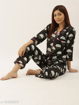 Banno's Swagger Women Black Cloud Printed Night Suit