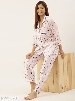Banno's Swagger Women Cream Satin Polka Dots Printed Night Suit