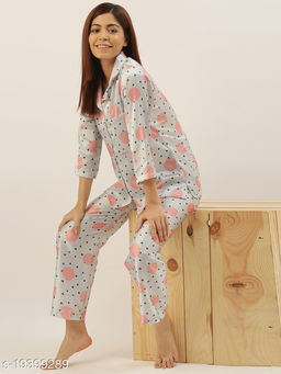 Banno's Swagger Women OffWhite Satin Polka Dots Printed Night Suit