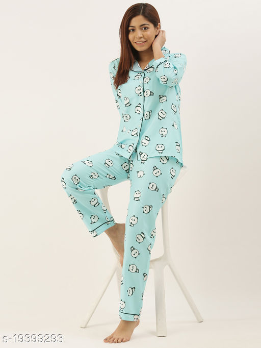 Banno's Swagger Women Light Blue Printed Night Suit