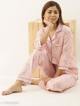 Banno's Swagger Women Light Pink Printed Night Suit