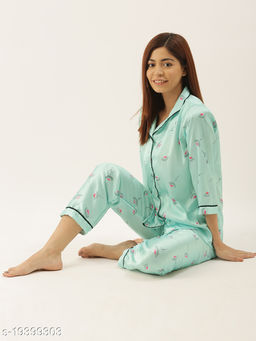 Banno's Swagger Women Sky Blue Satin Floral Printed Night Suit