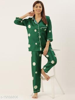 Banno's Swagger Women Green Satin Polka Dots Printed Night Suit
