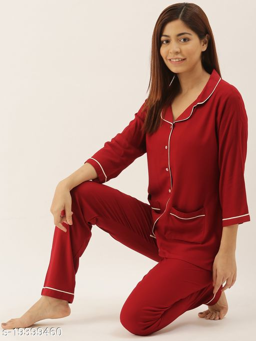 Banno's Swagger Women Maroon Solid Night Suit