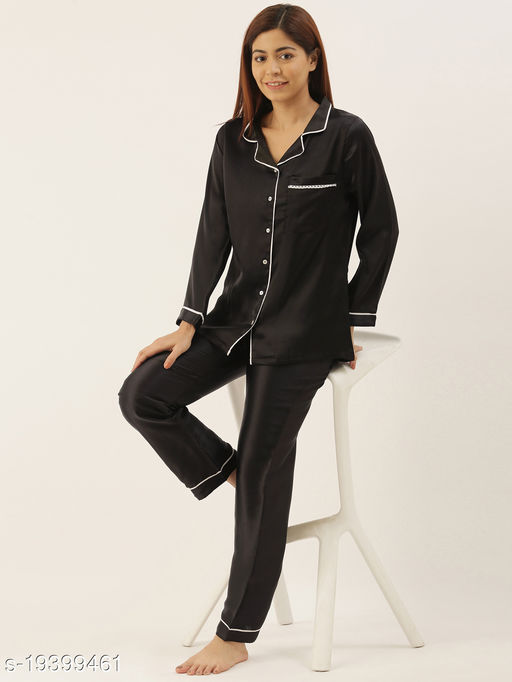 Banno's Swagger Women Black Solid Satin Night Suit