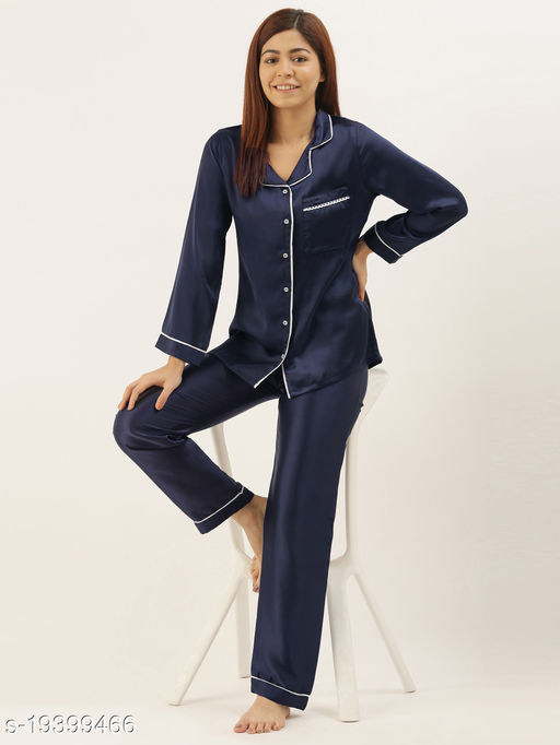 Banno's Swagger Women Navy Blue Solid Satin Night Suit