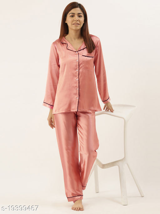 Banno's Swagger Women Coral Pink Solid Satin Night Suit