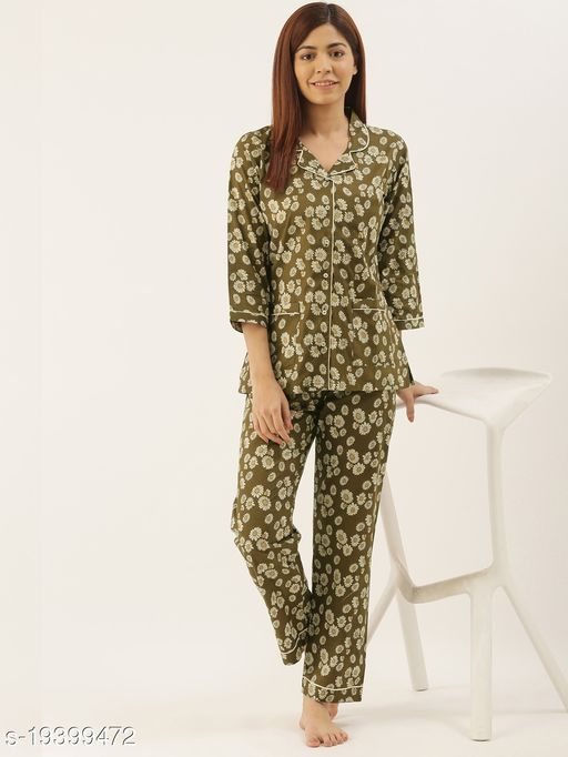 Banno's Swagger Women Green Floral Print Cotton Night Suit