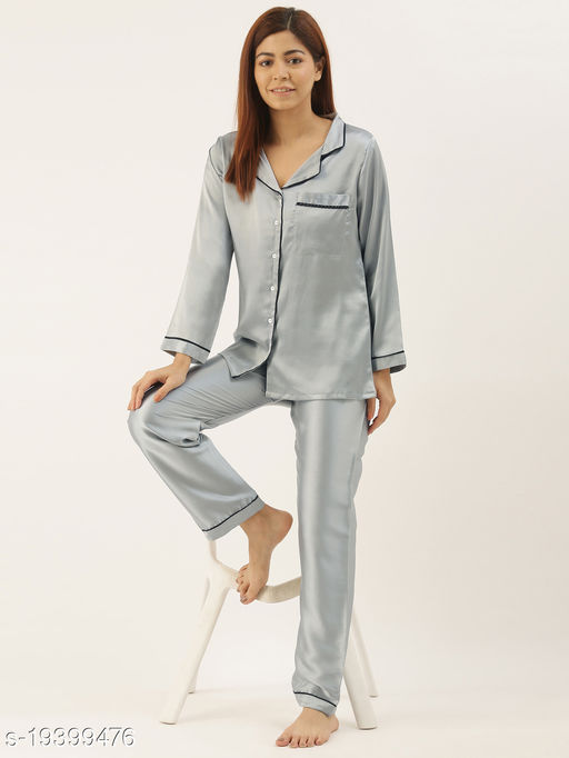 Banno's Swagger Women Light Grey Solid Satin Night Suit