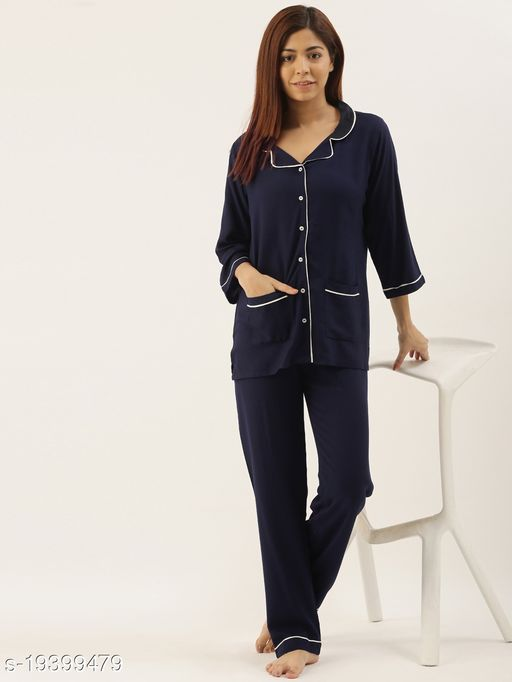 Banno's Swagger Women Navy Blue Solid Night Suit