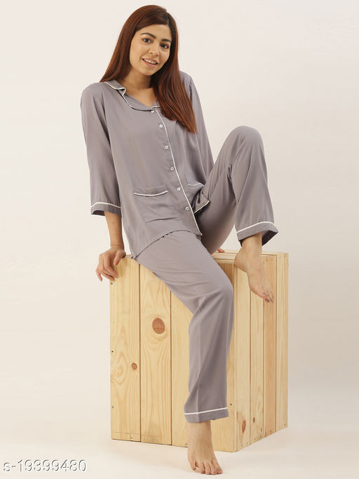 Banno's Swagger Women Light Grey Solid Night Suit