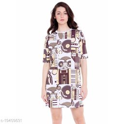 Cult Fiction Loose Fit Cotton Fabric White Round Neck Dress For Women
