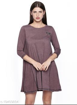 Cult Fiction Wine Cotton Viscose Blend Fabric  A-Line Dress For Women's