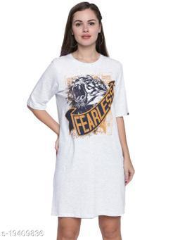 Cult Fiction White Melange Dress For Women'S