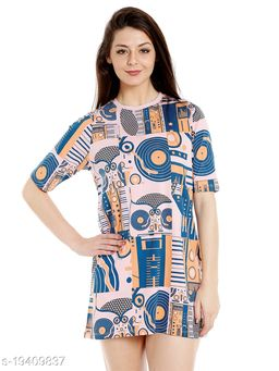 Cult Fiction Round Neck Pink Cotton Loose-Fit Dress For Women's