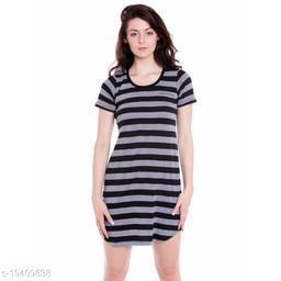 Cult Fiction Regular Fit Cotton Fabric Black Scoop Neck Dress For Women