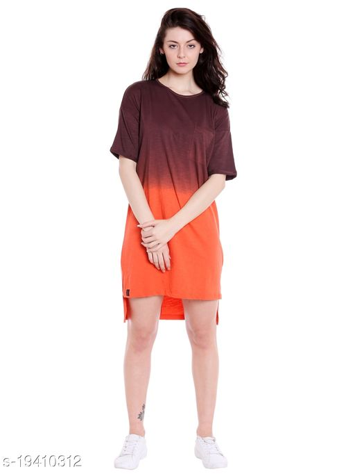 Cult Fiction High Neck Orange Half Sleeve Cotton Dress For Women