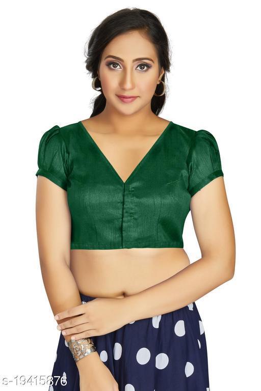 Aastha Womens Desinger Art silk Dark Green Blouse