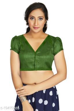 Aastha Womens Desinger Art silk Mehandi Blouse