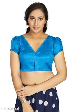 Aastha Womens Desinger Art silk Sky Blue Blouse