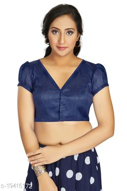 Aastha Womens Desinger Art silk Blue Blouse