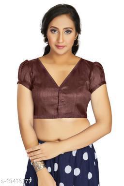 Aastha Womens Desinger Art silk Brown Blouse