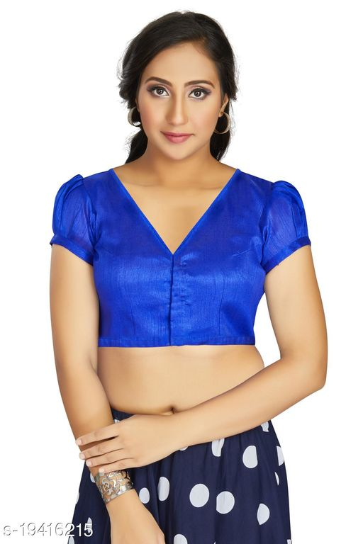Aastha Womens Desinger Art silk Royal Blue Blouse