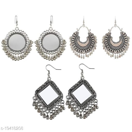 Koorie Fashion Multicolour Oxidized Silver Earrings for Girl - Pack of 3 Combo