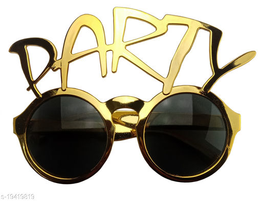 Style Secrets Premium Quality Party Quoted Sun Glasses for all Age Group ( Gold )