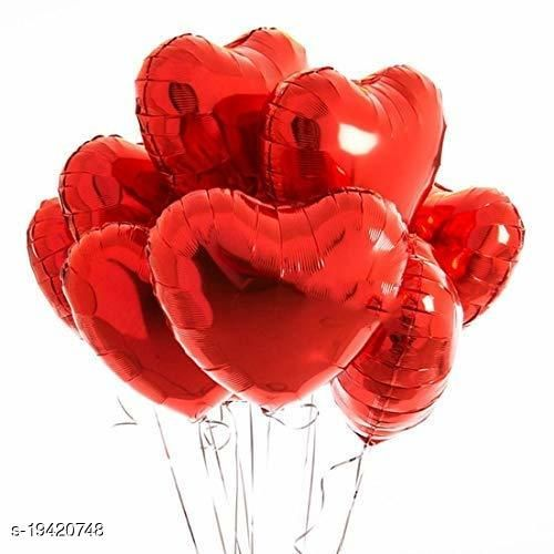 Style Secrets Red Foil Ballons Pack with Balloon Ribbon Roll [ Balloons - 10 Pcs and Balloon Ribbon Roll - 1 Pc ] for Party