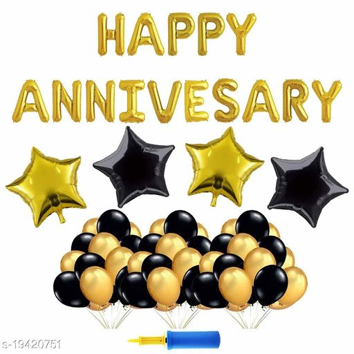 Style Secrets Happy Birthday Pack [ Contains: Happy Anniversary Foil Balloon Pack (1), Black Star Foil Balloons (2), Golden Star Foil Balloons (2), Metallic Golden and Black Balloons ( 25+25) and Balloon Inflator ( 1 ) ]