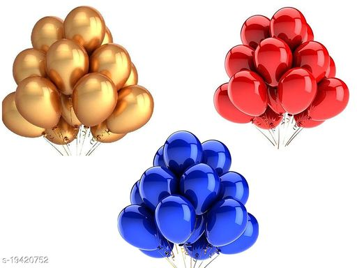 Style Secrets Premium Quality Metallic Gold, Red and Blue Balloons Pack (20 + 20 + 20) [Total 60Pcs], Balloons Ribbon Roll Free