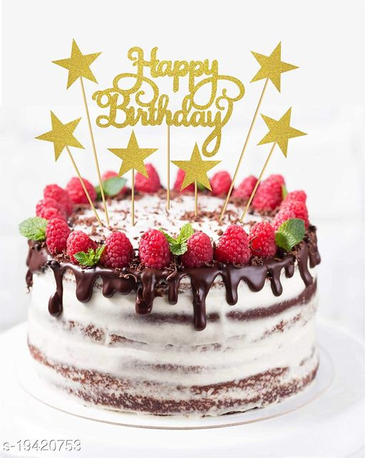 Style Secrets Giltter Happy Birthday Topper with 6 Pcs Star Sticks
