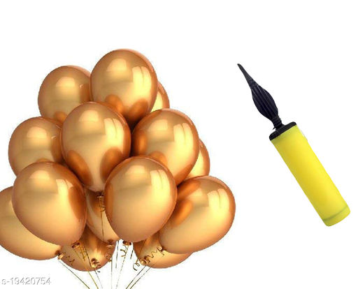 Style Secrets Metallic Gold Balloons ( 50 Pcs ) and Balloon Inflator (1 ) for Party