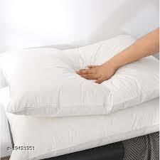 COTTON WHITE SOFT PILLOW WITH SOLID BLACKFIBRE (PACK OF 2)