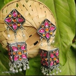 Designer Traditional Oxidized Silver Afghani Style Big Square Jhumki silver Earrings for Women and Girls