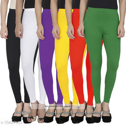 Pixie Women's / Girls Soft and 4 Way Stretchable Churidar Leggings Combo (Pack of 6) Black, White, Purple, Yellow, Red and Dark Green
