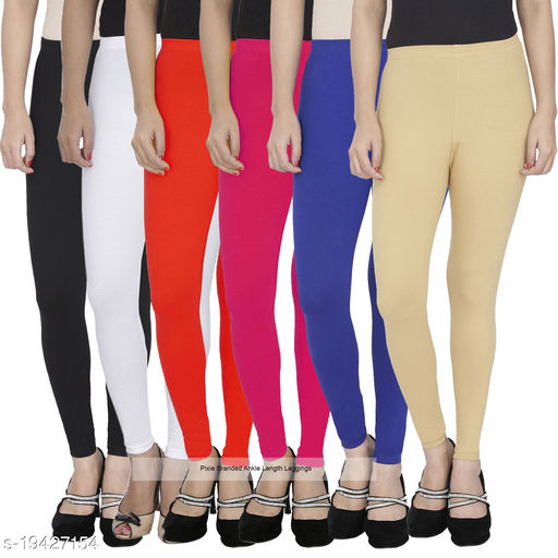 Pixie Women's / Girls Soft and 4 Way Stretchable Ankle Length Leggings Combo (Pack of 6) Black, White, Pink, Blue, Red and Beige