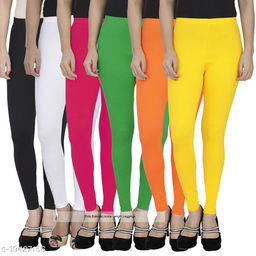 Pixie Women's / Girls Soft and 4 Way Stretchable Churidar Leggings Combo (Pack of 6) Black, White, Orange, Green, Pink and Yellow